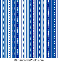 Bold blue and white stripes with dots and circles