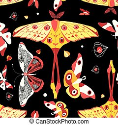 Seamless bright colorful pattern with different butterflies