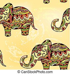 Seamless bright ethnic pattern with elephant