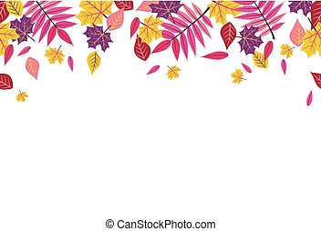 Seamless Bright Fall Autumn Leaves Border