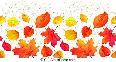 Seamless Bright Fall Autumn Leaves Border