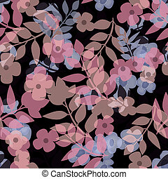 Seamless bright floral pattern on black