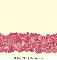 Seamless bright flower border