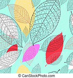 Seamless bright graphic pattern from the leaves