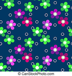 Seamless bright kids floral pattern on blue