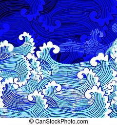 Seamless bright marine pattern
