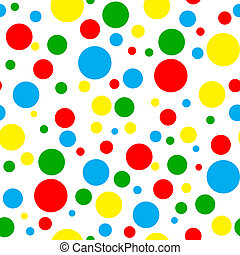 Seamless pattern of bright crayon color polka dots in various sizes on white background