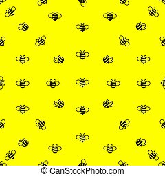 Seamless bright pattern of bees. Contour black drawing on a yellow background.