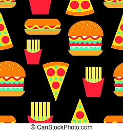 Seamless bright pattern of burgers and fast food on a dark...