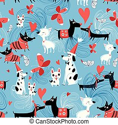 Seamless bright pattern of enamored dogs on a blue...