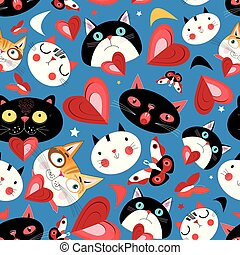 Seamless bright pattern of funny cats in love