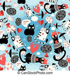 Seamless bright pattern of loving cats with hearts