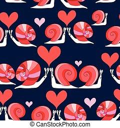 Seamless bright pattern of loving snails