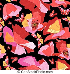 Seamless bright pattern of red gorgeous poppies