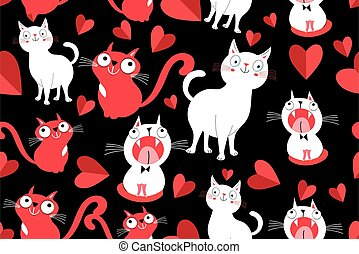 Seamless bright pattern with cats in love