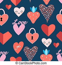 Seamless bright pattern with hearts on a dark background