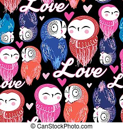 Seamless bright pattern with owls in love