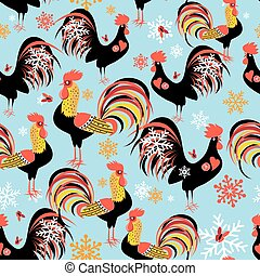 Seamless bright pattern with roosters
