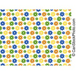 Seamless bright summer pattern with flowers isolated on white