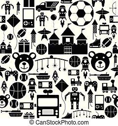 seamless, brinquedo, padrão experiência, icon.