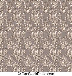 Seamless brown bell-flower floral vector wallpaper pattern.