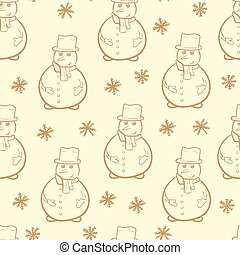 Seamless brown contours of snowmen