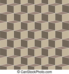 vector illustration of tri-colored hexagons weaving a strong optical illusion in earthy tones