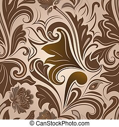 Seamless brown floral vector pattern.