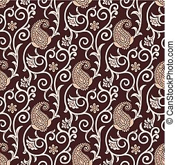 Seamless brown paisley background