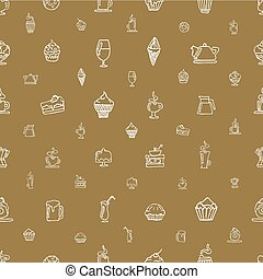 Seamless brown pattern with white elements hand-drawn on a coffee theme and desserts.