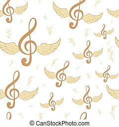 Seamless brown treble clefs - Seamless texture with winged...