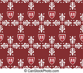 Seamless brown victorian royal vector texture with fleur-de-lis
