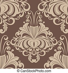 Seamless brown vintage wallpaper vector pattern.