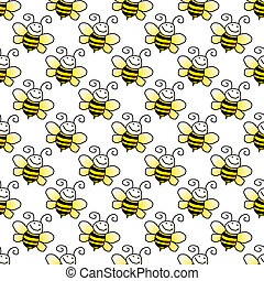 Yellow and black smiling cartoon bumblebees on white background