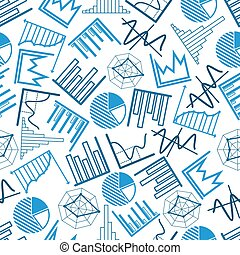 Seamless business charts, financial graphs pattern
