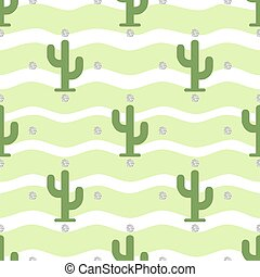 seamless cactus pattern on stripe background