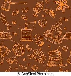 seamless, café, marrom, padrão