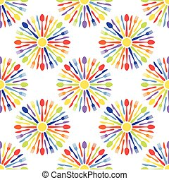 Seamless Cafe Cutlery Colorful Pattern