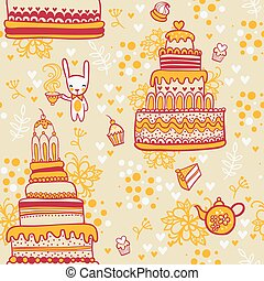 Seamless cake pattern with rabbit.