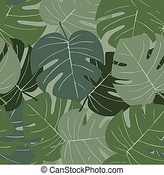 Seamless camouflage pattern of palm leaves dark green.eps
