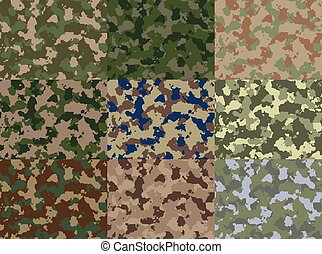 Seamless Camouflage pattern vector - Nine standalone...