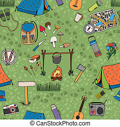 Seamless camping background vector pattern with tents a...