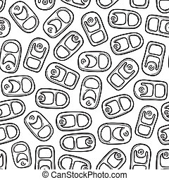 Doodle style aluminum, soda, or beer can pull tab seamless vector background