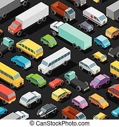 Seamless Car Parking. Vector Pattern