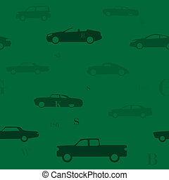 Seamless car pattern green