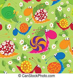 seamless, caracóis, com, flores, e, folhas