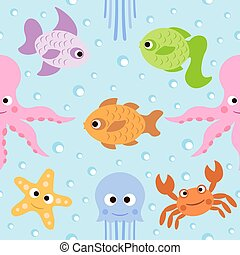 Seamless card with sea animals