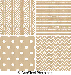 A set of four cardboard paper backgrounds with seamless aztec, stripes, polka dots and chevron patterns.