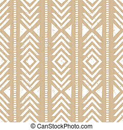 Seamless tribal aztec pattern in white against cardboard paper background.