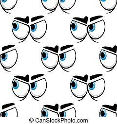 seamless, caricatura, olhos azuis, padrão